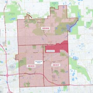 Rochester, MI ZIP Code Map